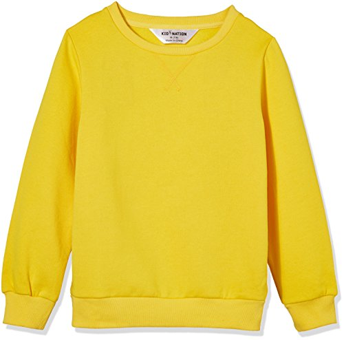 Kid Nation Kids' Slouchy Soft Brushed Fleece Casual Basic Crewneck Sweatshirt for Boys or Girls M Yellow