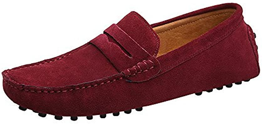 YLY Mens Driving Penny Loafers Suede Genuine Leather Casual Moccasins Slip-On Boat Shoes Up to Size