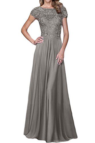Ivydressing Elegant Scoop Neck Short Sleeve Maxi Gowns Mother Of The Bride Dresses-12-Gray