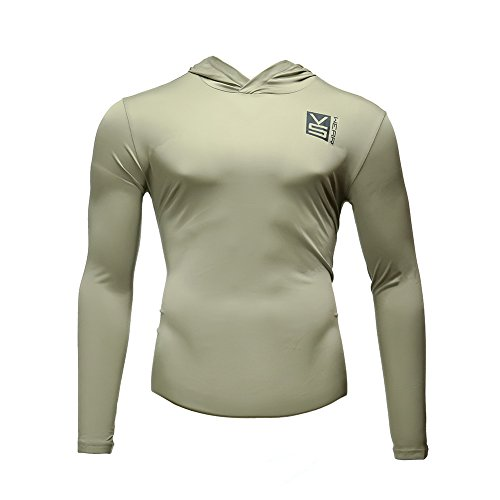 Fusion VS Wear Men's Microfiber Slim Fit Compression Long Sleeve Athletic Sport Performance Training Thermal Baselayer Tactical Hoodie Shirt Made in USA Large Tan by Fusion