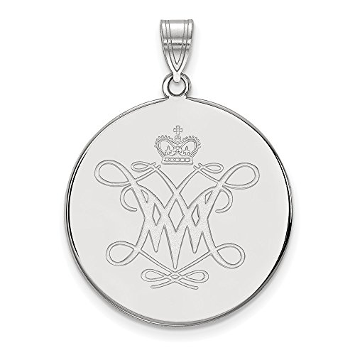 (Jewelry Stores Network College of William & Mary Tribe School Logo Disc Pendant in Sterling Silver XL - (26 mm x 25 mm) )