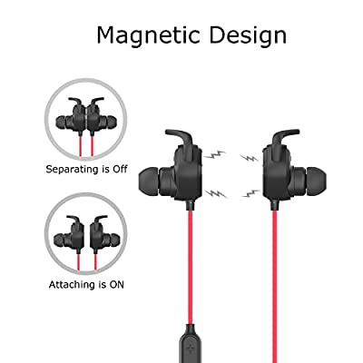 Jesbod QY12 Magnetic Wireless Sport Earbuds Bluetooth Noise Cancelling Headphones Stereo Headset with Mic for Running, Workout, GYM - IPX4 Sweatproof - Black Red