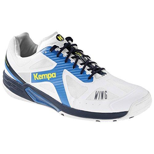 Kempa Wing Lite Zapatillas de Balonmano, Hombre, Blanco / Azul (Fair / Mar), 6
