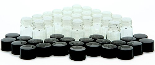 Vivaplex, 24, Clear, 2 ml (5/8 Dram) Glass Bottles, with Orifice Reducers and Black Caps