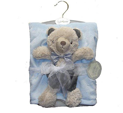 Baby Boy's w-Pc Brushed Fleece Sherpa Blanket and Courduroy Teddy Bear Set