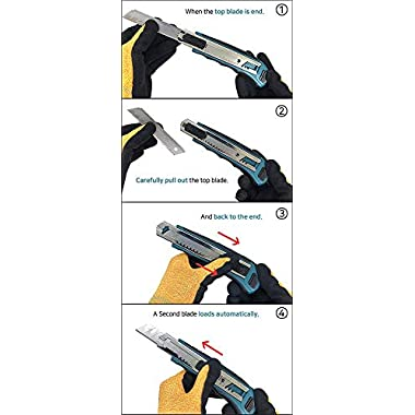 Makita Utility Knife Snap-Off Easy Loading Retractable Extra Blades Comfortable Rubber Handle Total 8 Blades 13