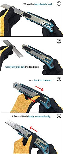 Makita Utility Knife Snap-Off Easy Loading Retractable Extra Blades Comfortable Rubber Handle Total 8 Blades 6