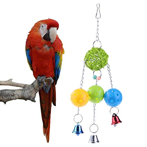 Bird Toys - 1pc Plastic Parrot Toys Balls Chains Rattan Ball Bell Chewing Bite Cage - Pinata Prime Chew Sticks Budgie Beaaks Dollars Rings Kabob Under Cage Perches Bells African Coconut Noi