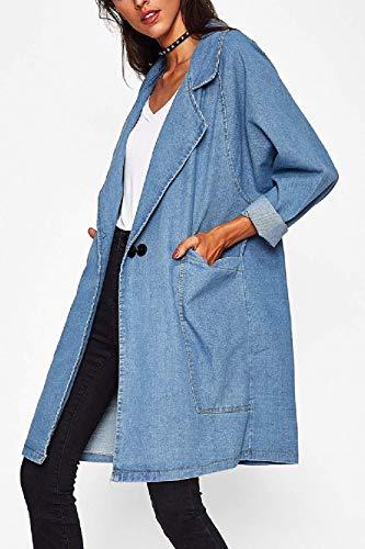 Tasche Tendenza Fidanzato Marca Giacca Cappotto Bolawoo Lunghe Donna Fashion Eleganti Mode Blu Relaxed Con Autunno Libero Outwear Jeans Lunga Tempo Maniche Giacche Azzurro Di qEOE6R