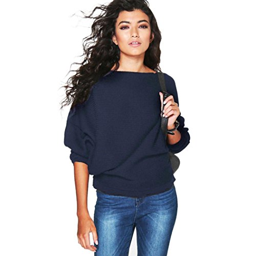 kaifongfu Women Sweater, Batwing Sleeve Knitted Pullover Loose Sweater Jumper Tops Knitwear (S, Navy -