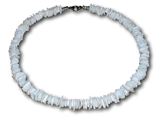 Choker Shell Puka Necklace (Native Treasure - 16 inch Kids White Rose Clam Chips Puka Shell Necklace with Lobster Clasp)