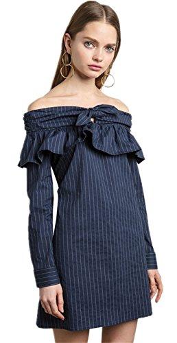Manga Larga Bajo de Volante Volantes con Rayas Off The Shoulder Hombros al Descubiertos Aire Escote Bardot Minivestido Mini de Corte Shift de Cambio Recto Boxy Straight Dress Vestido Azul Azul