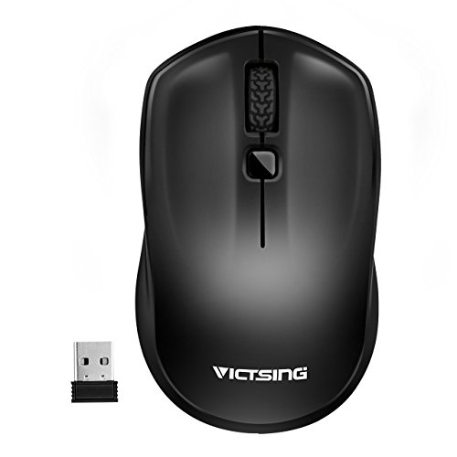 VicTsing Wireless Mouse with Nano Receiver, 2.4G Mobile Cordless Mouse for Laptop, Power ON-Off Switch, Adjustable DPI Levels, Computer USB Mouse for Laptop, Deskbtop, MacBook - Black - Black Cordless Mouse
