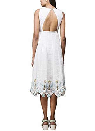 69bff99f240 Flared White Linen Dress by Pushpak Vimaan  Amazon.co.uk  Clothing