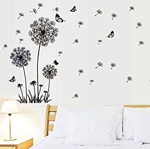 Butterfly Flying In Dandelion Wall Stickers Removable living room Bedroom Wall Mural Art Decor Stickers Poster Gift Wallpaper-xsq