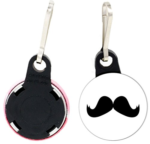 Rikki Knight Hercule Poirot Mustache Design 1 inch Zipper Pull Button (set of 4) -