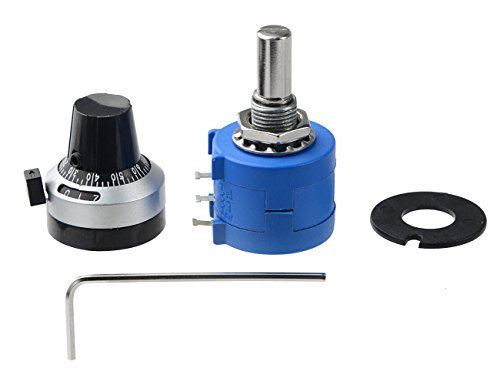 WGCD 1Pcs 10K Ohm 3590S-2-103L 10-Turn Rotary Wire Wound Precision Potentiometer Kit