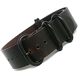 time+ 20mm 5-ring NATO ZULU Oil Leather Military Watch Strap Black Brown PVD