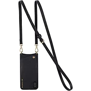 iPhone X Cell Phone Case - Black Genuine Leather Wallet & Gold Hardware Crossbody Adjustable Strap. Wallet for ID & Credit Cards. Mobile Purse to Carry Hands-free. Emma Case by Bandolier.