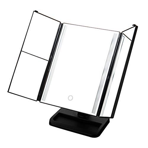 Desktop LED Lighted Makeup Mirror Folding Intelligent Dimming Square Dressing Room 350°Free -
