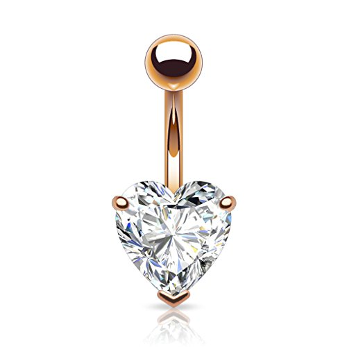 Pierced Owl Heart Shaped Rose Gold 14kt Plated CZ Belly Button Ring 316L 14g Navel Ring (8mm (0.31