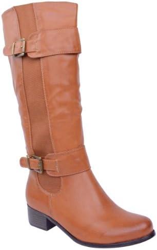 Fashion Thirsty Femmes ÀÉLASTIQUE Faux Cuir ÉQUITATION Genou Mollet Large Haut Chaussures Bottes Taille