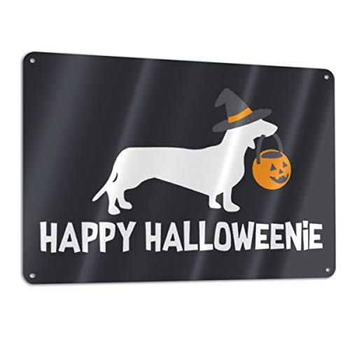 (KZANSUI Personalized Paint Dachshund Dog Happy Halloween 11.8 X 7.9 in Metal Tin Sign Funny Iron Tag Plaque Wall Art Poster for Bar)