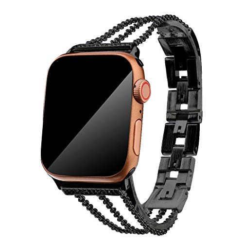 (OUFENLI Watch Band for Apple Watch,Fashion Lightweight Quick Release Bracelet Adjustable Wristband Loop for Apple Watch 4/3/2/1 38/40mm (Black))