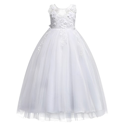 lace Dresses for Girls Bridesmaid Pageant Flower Princess Wedding Formal Prom Floor Long Tulle Dress 7-16T Dance Evening Maxi Gown White 7-8 Years