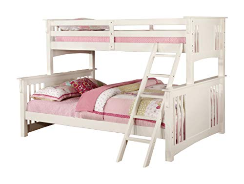Furniture of America Denny TwinXL-Queen Bunk Bed, White