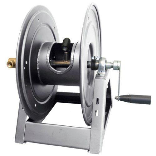 General Pump DHRA50150 3/8'' x 150' Charcoal Grey Steel Hose Reel with Flat Sidewalls, A-Frame, Pin Lock & Brake and Stainless Steel Swivel Inlet, 5000 PSI