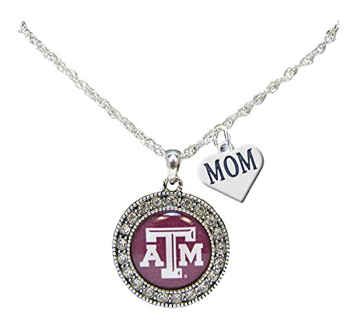 - Holly Road Texas A&M Aggies Silver Crystal Necklace WITH MOM CHARM Jewelry TAMU