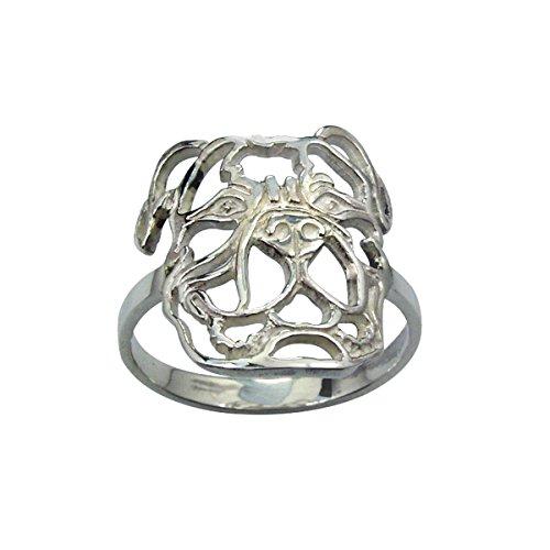 H&H jewellery Bouledogue amricain bague d'argent rhodi - 54; Bigouterie d'argent - Bague (titre 925/1000)