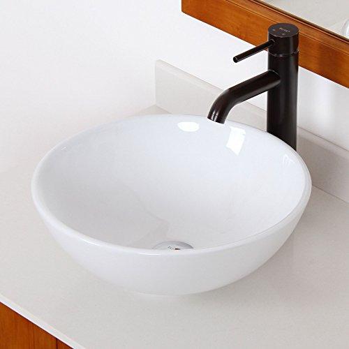 Elite Bathroom Round White Ceramic Porcelain Vessel Sink Oil