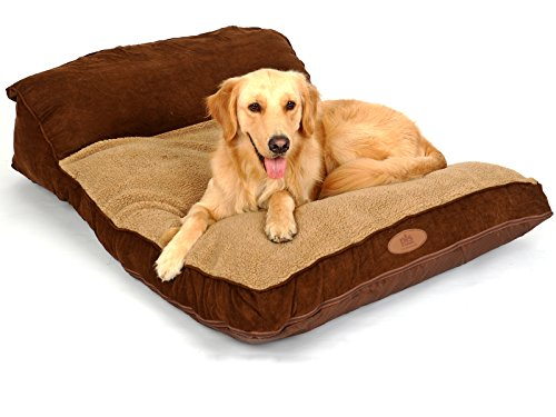 PLS Birdsong Siesta Deep Dish Dog Bed Brown (Large, 35Wx47L), for Large Dogs, Durable, Removable Covers, Easy-Clean, Extra-Thick