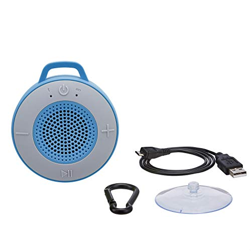 AmazonBasics Wireless Shower Speaker with 5W Driver, Suction Cup, Built-in Mic - Blue