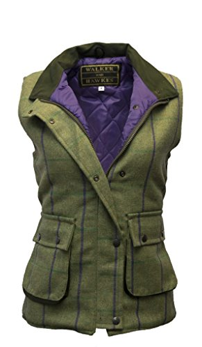 - Walker and Hawkes Women's Derby Tweed Shooting Waistcoat Country Gilet Purple Stripe US 10 (UK 14)