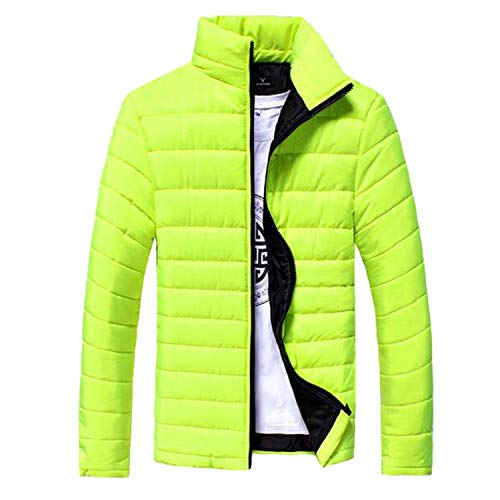 - Men Winter Coat Men Parkas Jacket Stand Collar Male Jacket Solid Thick Jackets Coats,Fluorescent Green,XL