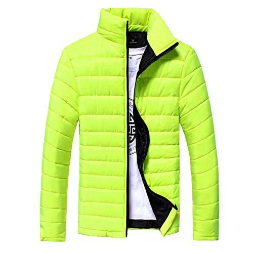 - Men Winter Coat Men Parkas Jacket Stand Collar Male Jacket Solid Thick Jackets Coats,Fluorescent Green,XL