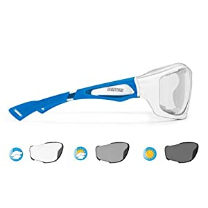 Bertoni Sport Sunglasses Photochromic cat. 0-3 Antifog for Cycling Running Golf Ski Watersports - F1000 Wraparound Windproof Glasses (Shiny White/Mat Blue, Photochromic Antifog)