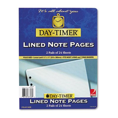 Lined Note Pads for Organizer, 8-1/2 x 11, 48 Sheets/Pack, Sold as 1 Package, 8PACK , Total 8 Package