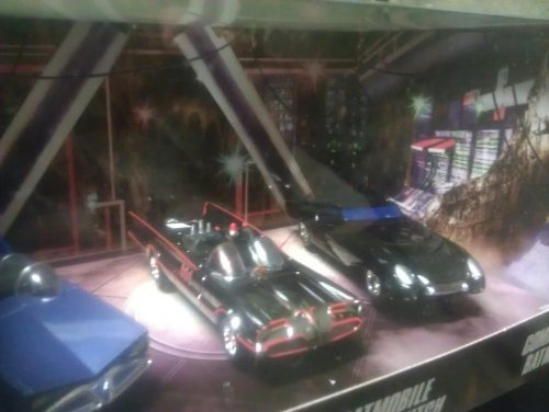 Hotwheels 1:50 Scale Super Friends , 1966 Batmobile with Trailer Hitch and Comic Book Batmobile Collector's Edition 3 Pack