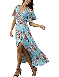 Wrap Maxi Dress Short Sleeve V Neck Floral Flowy Front...
