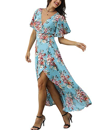 Azalosie Wrap Maxi Dress Short Sleeve V Neck Floral Flowy Front Slit High Low Women Beach Summer Boho Dress