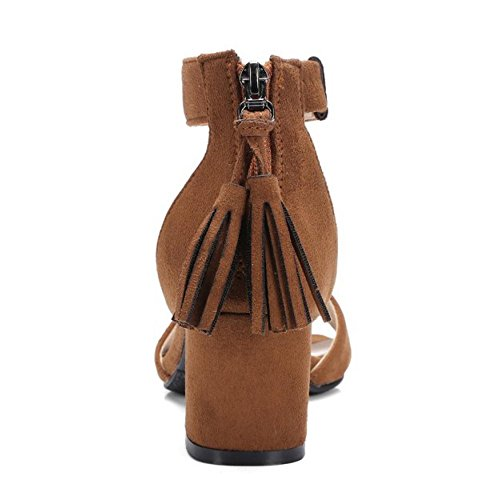 Coolcept Women Solid Block Heel Sandals Tassel Brown wZh4fZf0
