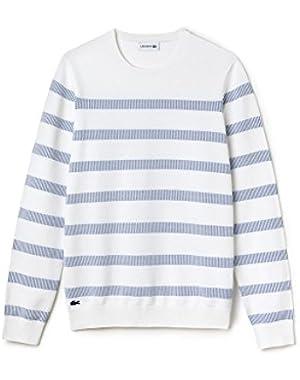 Men's Men's Striped White Cotton Sweater in Size 6-XL White