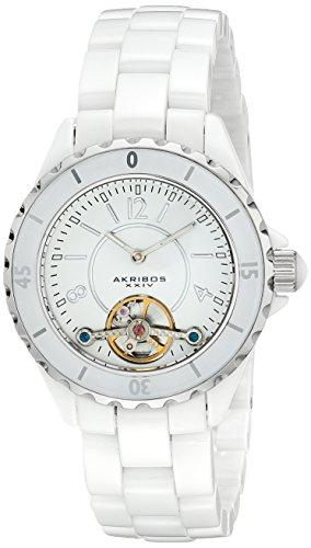 Akribos XXIV Women's AK524WT Automatic Ceramic Watch with Link Bracelet