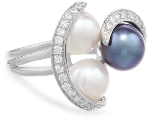 Sterling Silver Peacock and White Freshwater Cultured Pearl Cubic Zirconia Ring, Size 6