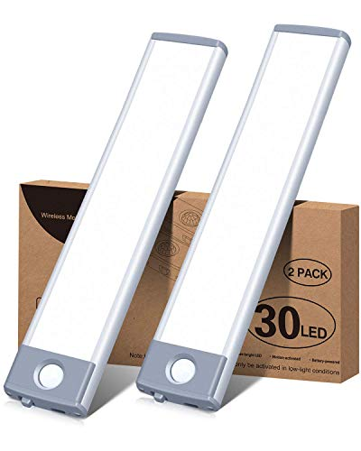 Led Under Cabinet Lighting Motion Sensor Wireless Rechargeable Cabinet Lights, Ultra Thin 30Led Battery Operated Closet…