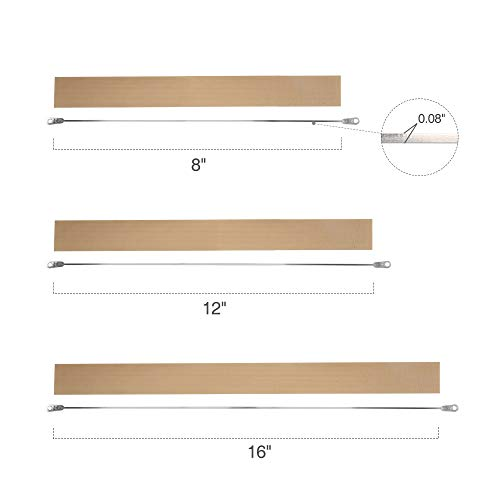 Fuxury 8 inch Heat Seal Closer Impulse Sealer Accessories,2 Wire Elements and 2 Teflon Tapes,Length: 8 inch (200mm), Seal Width: 0.08 inch (2mm)(2 Repair Kits)